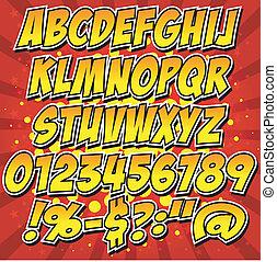 comics, alfabet, firmanavnet, samling