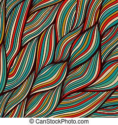 composition., bølgede, hairs., farverig, blad, abstrakt, ser ud, skabelon, vand, baggrund., hand-drawn, vektor, tangled, maritime., hav, bølger, tekstur, design., bølger, bagtæppe, ligesom