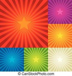 composition., stjerne brast, seks, colors., baggrund, central