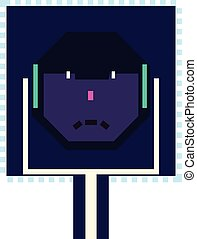 computer, depicting, afhøre, strømkreds, nej, skærve, ing ansigter, onde, tal, se, planke