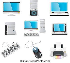 computer, icon., vektor, hvid