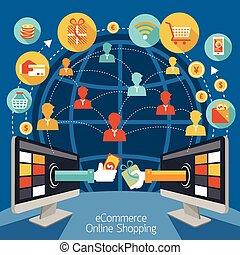computer, indkøb, dataskærm, online
