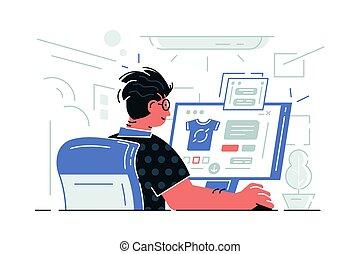 computer, siddende, guy