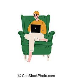 computer, slapp, arbejder, siddende, armchair, laptop, unge, illustration, vektor, computer, bruge, hjem, guy, eller, mand