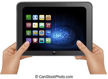 computer, tablet, digital illustration, vektor, icons., hånd ind hånd