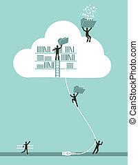 computing, sky, begreb, firma