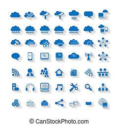 computing, sky, væv, netværk, ikon
