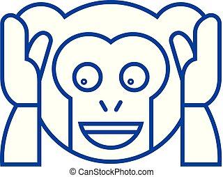 concept., beklæde, vektor, symbol, lejlighed, ikon, tegn, onde, udkast, emoji, tal, nej, illustration.