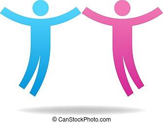 concept., par, illustration, vektor, teamwork, female., icon., mandlig, din, design.