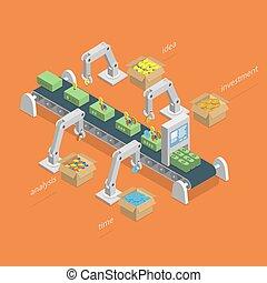 concept., proces, indgåelse, isometric, penge