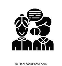 concept., vektor, sort, symbol, interlocutor, lejlighed, ikon, tegn, overbevise, illustration.
