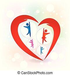 constitutions, familie, beskyttelse, vektor, hænder, logo