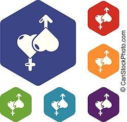 constitutions, iconerne, hexahedron, vektor, kvindelig, mandlig