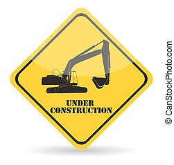 construction., vektor, under, arbejde, gravemaskine, illustration