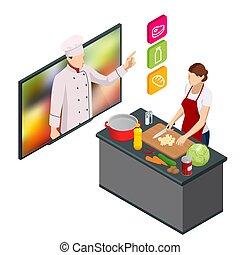 cooking., isometric, madlavning, online, professionel, webinar, køkkenchef, hjem, mens, streaming, masterclass, online., lektion, undervisning, kvinde