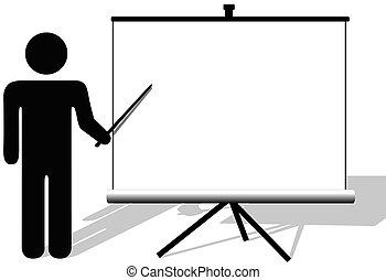 copyspace, filmen, symbol, punkter, præsentation, skærm, mand
