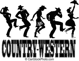country-western, dans, silhuet, ba
