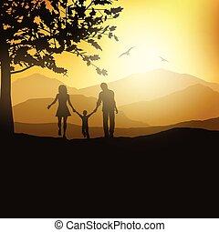 countryside, gå, familie