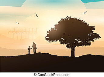 countryside, gå, far, søn