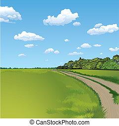 countryside, landlig scene, vej