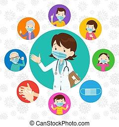 covid-19., medicinsk, beskyttende, doktor, familie, slide, virus, maske