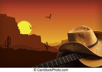 cowboy, land, guitar, amerikaner, musik, baggrund, hat