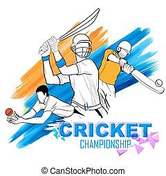 cricket, batsman, spille, mesterskab