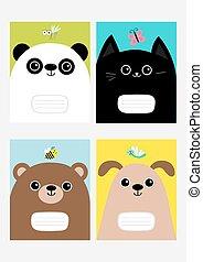 cute, afdækket, character., kitten., bi, design., set., baggrund., bog, skabelon, komposition, lejlighed hovede, farverig, kitty, hund, bjørn, insekt, notesbog, baby, cartoon, panda, kat, sommerfugl, myg, dragonfly