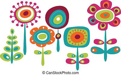 cute, blomster, farverig