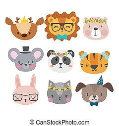 cute, bunny, sæt, dyr, morsom, løve, kat, hund, zoo., hånd, accessories., rådyr, panda, tiger, bogstaverne, stram, smil, mus, cartoon, bear.