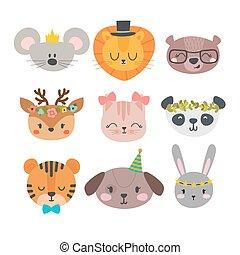 cute, bunny, sæt, dyr, morsom, rådyr, løve, bjørn, hund, zoo., hånd, accessories., characters., panda, tiger, stram, smil, mus, cartoon, kat