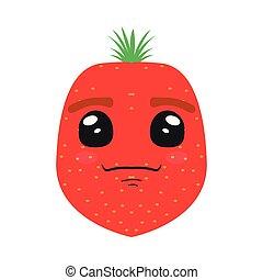 cute, cartoon, jordbær