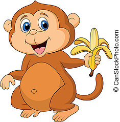 cute, cartoon, nydelse, abe, banan