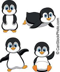 cute, cartoon, pingvin