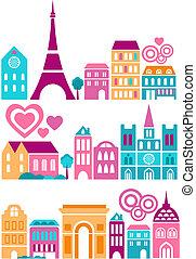 cute, cities, vektor, illustration, verden