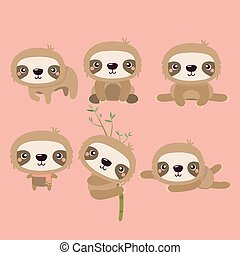 cute, doven, sloth, characters., dyr, smil, cartoon