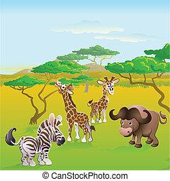 cute, dyr, scene, safari, afrikansk, cartoon