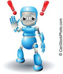 cute, forsigtighed, robot, karakter