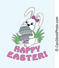cute, fortsætte, ornamental, urt, åg, bunny påske, glade