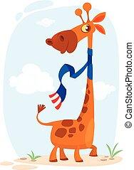 cute, giraf, karakter, cartoon
