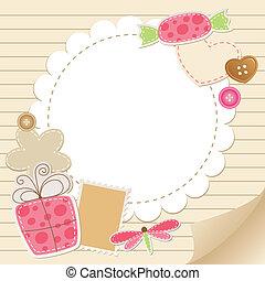 cute, hilsen card, vinhøst
