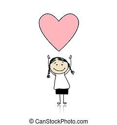 cute, holde, hjerte, -, helgen valentine, pige, dag