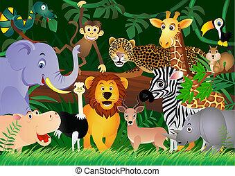 cute, jungle, dyr, cartoon