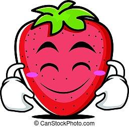 cute, karakter, cartoon, smile, jordbær