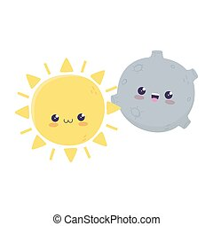 cute, karakter, kawaii, cartoon, måne, sol