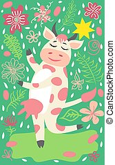 cute, ko, gylden, agerjord, klokke, karakter, har, morsom, dyr, morskab, cartoon, glade