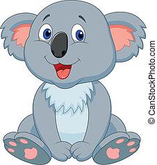 cute, koala, cartoon