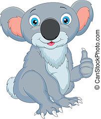 cute, koala, tommelfingre oppe, cartoon