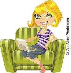 cute, laptop, grønne, lys, stol, pige