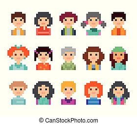 cute, mandlig, avatars, kvindelig, pixel